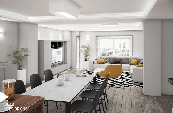 Proyecto de decoración en Enguera, salón comedor con cocina integrada. #interiorista #decoradorvalencia #viviendasactuales #mobiliariodeautor #nosencantadiseñar #interiordesign
