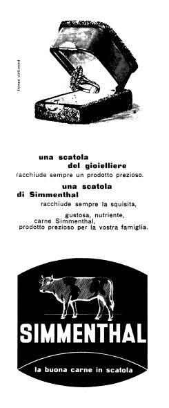 La pubblicità della carne in scatola Simmenthal negli anni '50  Di Stefanoni Franco
