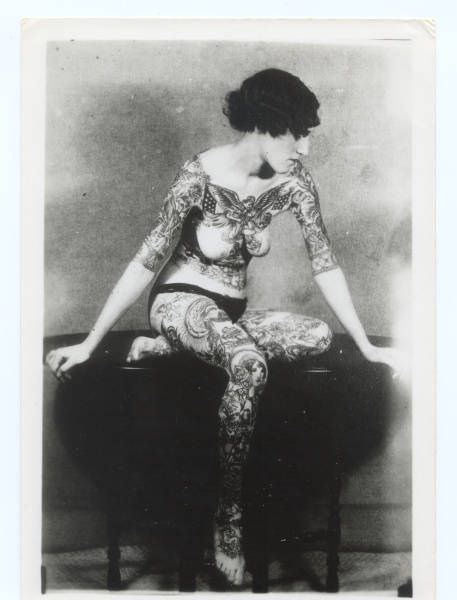 tattoo lady from Victorian era
