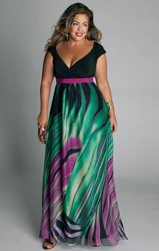 The style of this dress is good for us curvy girls, but I would like a different pattern on the bottom.
