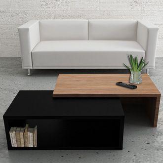 Table basse modulable Noir/Noyer L90xl45/80xH33cm JAZZ Tema Home port offert