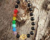 Men's Bracelet, Hamsa Bracelet, 7 Chakras Bracelet, Gold filled Hamsa Hand, Prayer Bracelet, Yoga bracelet, Spiritual - Religion Bracelet $28.00