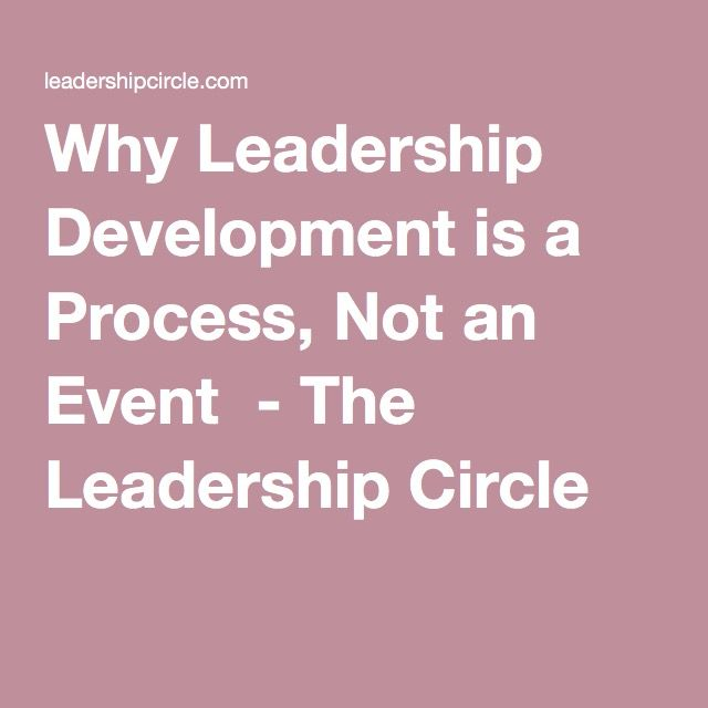 The Leadership Circle : Why Leadership Development is a Process, Not an Event
