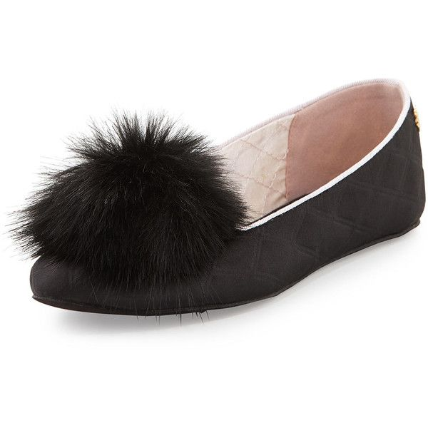 Ted Baker London Iveye Satin Slipper with Faux-Fur Pom (1.092.940 IDR) ❤ liked on Polyvore featuring shoes and slippers