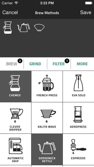 It's something new that they use icons instead of typing the method of brewing your coffee