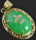 14K Yellow Gold Oval Cut Natural Jade Turtle Greek Key Solitaire Pendant