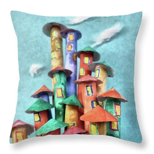 Fairy Throw Pillow featuring the painting Fairy City by Grigorios Moraitis
