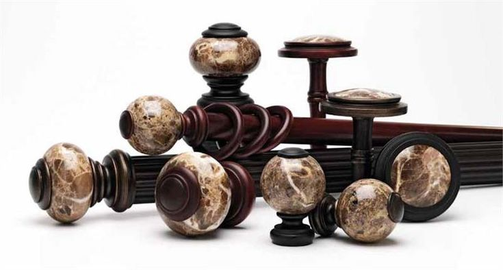 Belmont Marble - Custom Select Wood Rod Set 1-3/16 Your curtain rod set will include 2 Tuscan Marble Finials, a wooden curtain pole cut to your specification and brackets every 6'