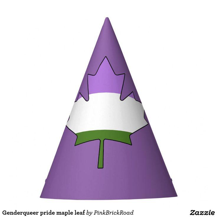 Genderqueer pride maple leaf party hat