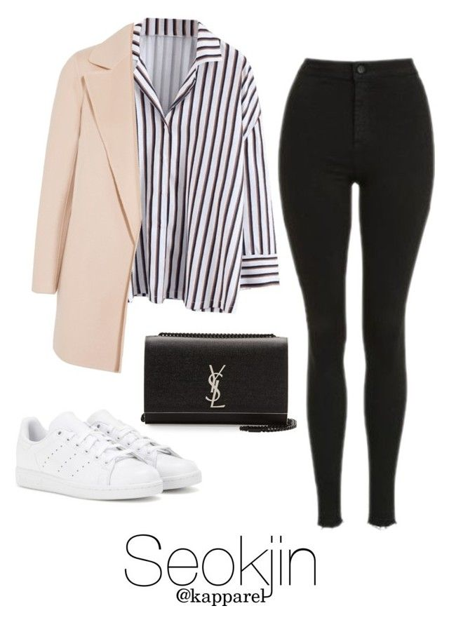 """""""Winter Outfit: Seokjin"""" by kapparel ❤ liked on Polyvore featuring adidas, Yves Saint Laurent, Theory and Topshop"""
