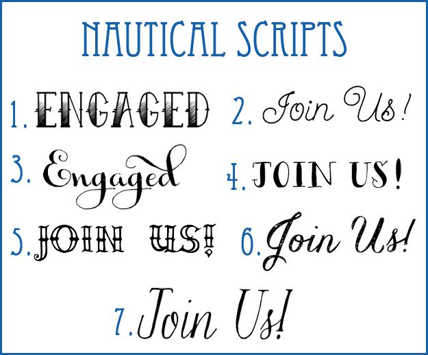 Nautical Wedding Fonts |  Nautical Scripts from Lucky in Love Wedding Planning Blog - Seattle Weddings at Banquetevent.com #nautical #fonts