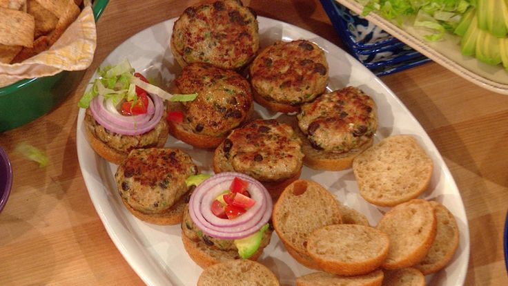 Kurt and Brenda Warner's Turkey Burger Sliders | Rachael Ray Show - made April 2014, left out cilantro, cooked in cast iron skillet, pretty good :)