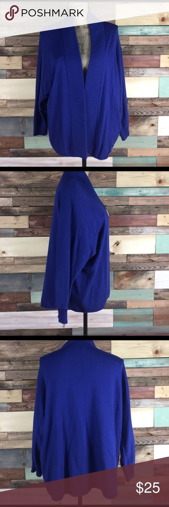 """Chicos Royal Blue Open Knit Cardigan - Sz L Chicos Royal Blue Open Knit Cardigan - Sz L// chicos Sz 2 = Large/12. Length: 26"""" // batwing sleeves, 3/4 length. Chico's Sweaters Cardigans"""
