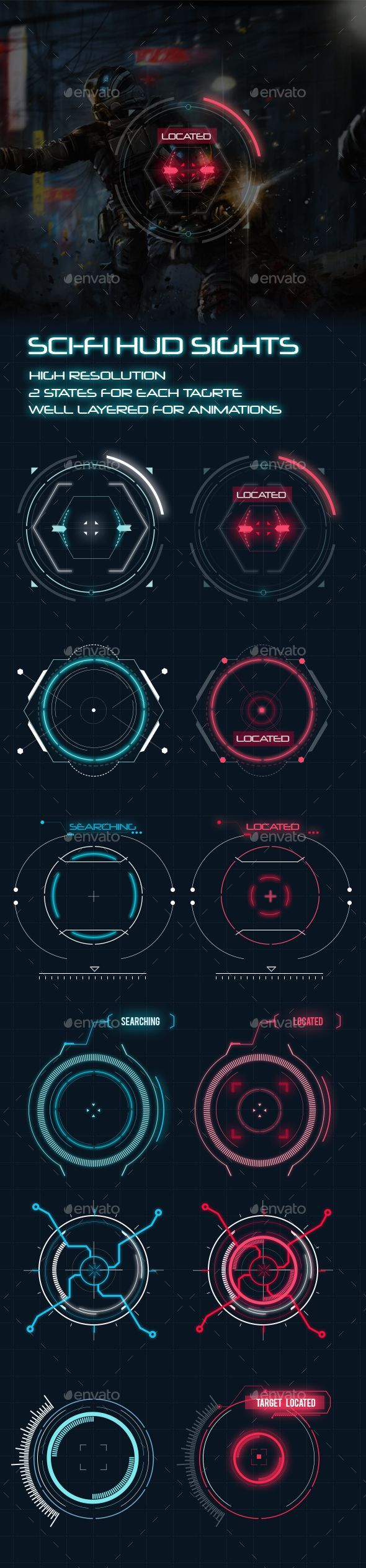 #Sci-Fi HUD Elements for Games - Miscellaneous #Game Assets Download here:  https://graphicriver.net/item/scifi-hud-elements-for-games/20366649?ref=alena994