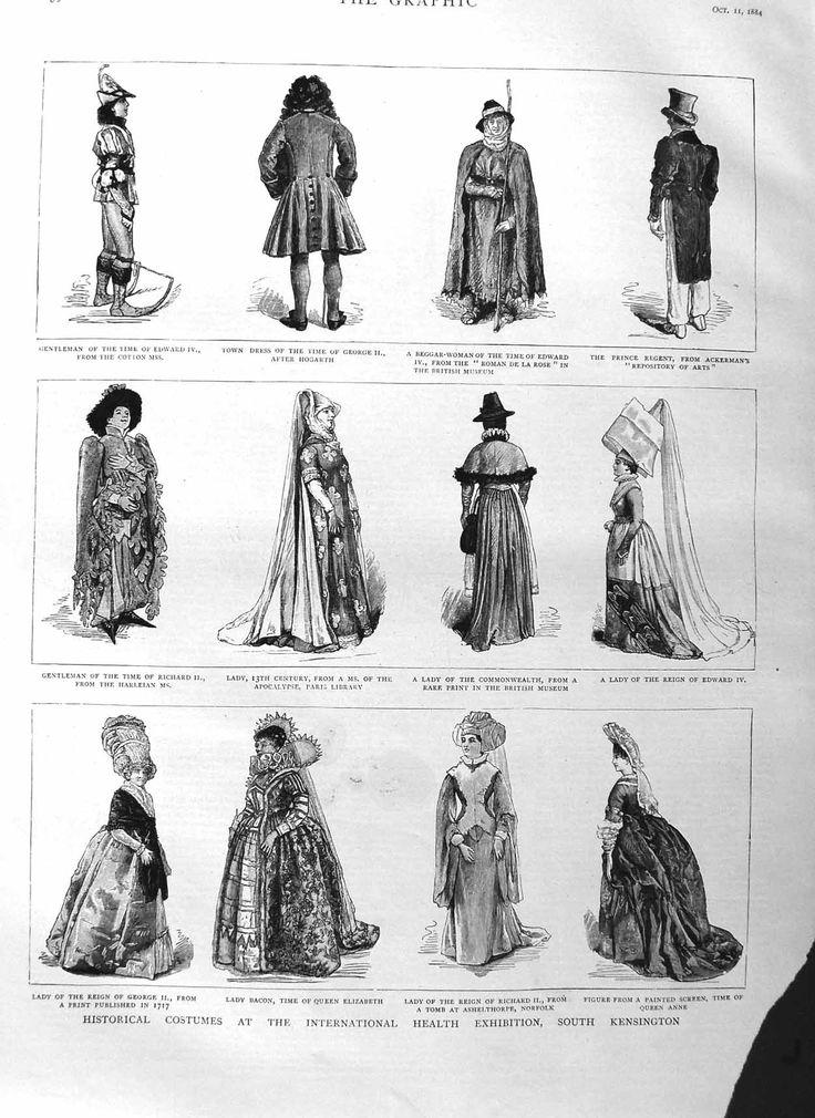 1884 International Health Exhibition Kensington. Historical Costumes