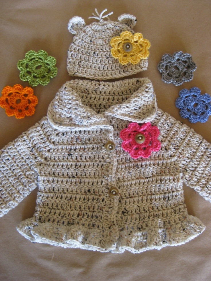 Crochet Baby Sweater jacket cardigan coat hat ruffle flower button shower gift ready to ship. $36.00, via Etsy.