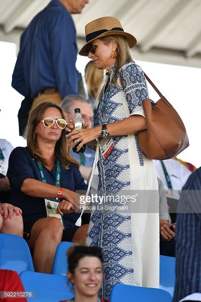 Queen Maxima attends the Equestrian Jumping individual final round at the Olympic Equestrian centre on August 19, 2016 in Rio de Janeiro, Brazil.