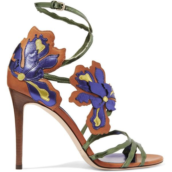 Jimmy Choo Lolita appliquéd metallic leather sandals found on Polyvore featuring shoes, sandals, heels, purple, metallic sandals, high heel sandals, strappy leather sandals, flower sandals and leather sandals