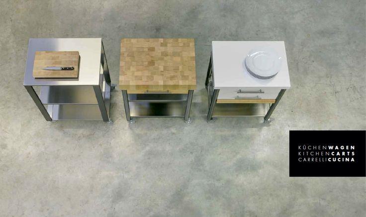 Küchenwagen | Theke | rollbar | Edelstahl | Holz | weiß - bei Möbel Morschett