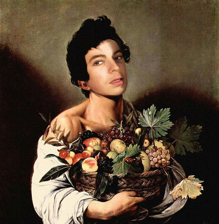 """Caravaggio's """"Boy With Fruit Basket"""", starring Andrei Telfer! Version oil on canvas..."""