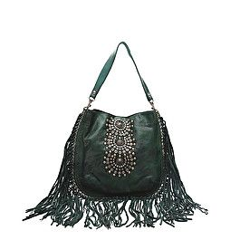 Single strap bag in green leather with studs and fringes