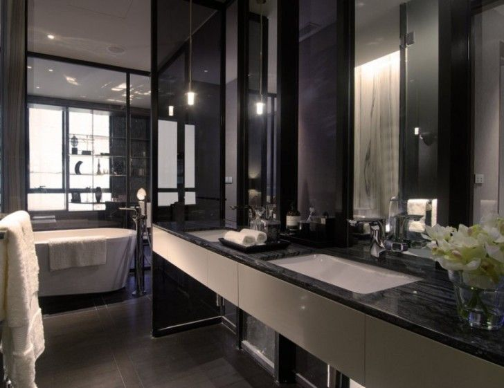 Apartment, Mount Wall Double Vanity Bathroom Countertop Black Marble With  Mirrors Stainless Steel Hanger Towel Part 75