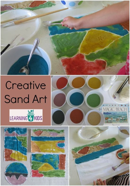 Creative Sand Art - activity inspired by the story Magic Bach by Alison Lester - creating landscapes with sand