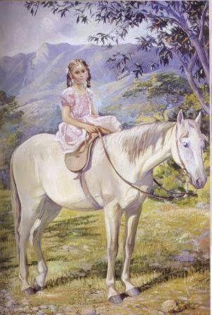La niña y el caballo, 1910. Oleo sobre lienzo . Ricardo Gómez Campuzano.