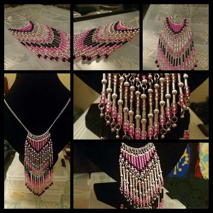 Statement fringe necklace in pink by Glaetzer Jewellery Kreations 🌺