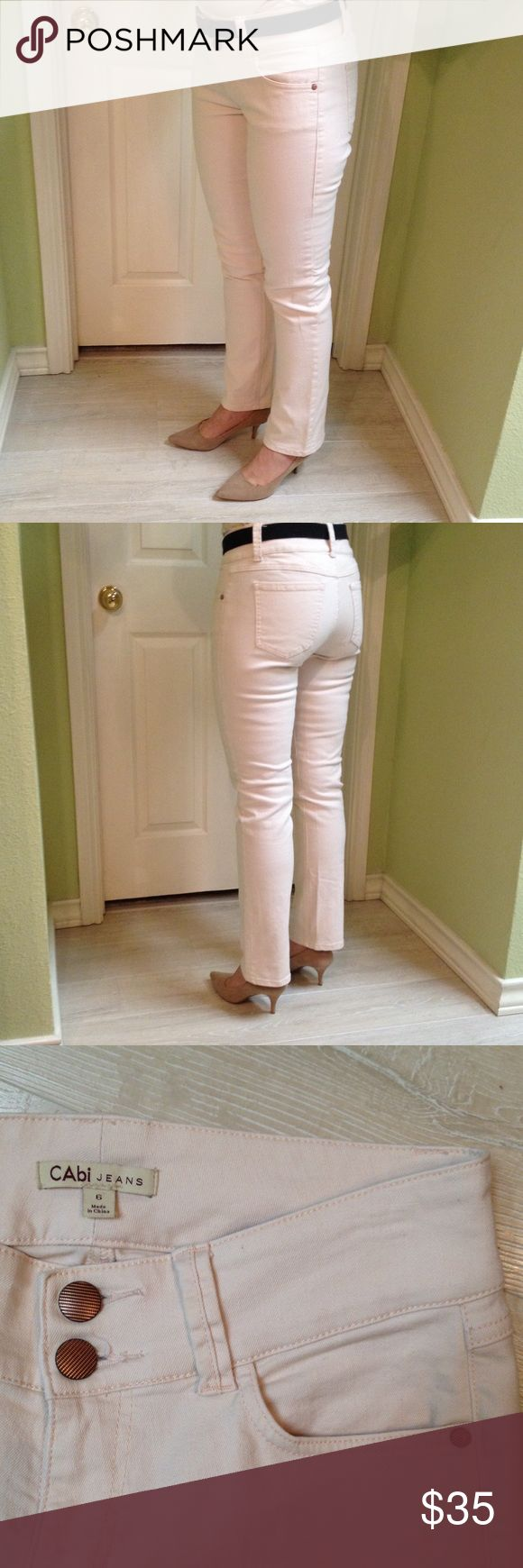 Cabi stretch jeans size 6. Cabi stretch jeans size 6. Straight leg. Great condition. Cream color with slight salmon pink tone to it. CAbi Jeans Straight Leg