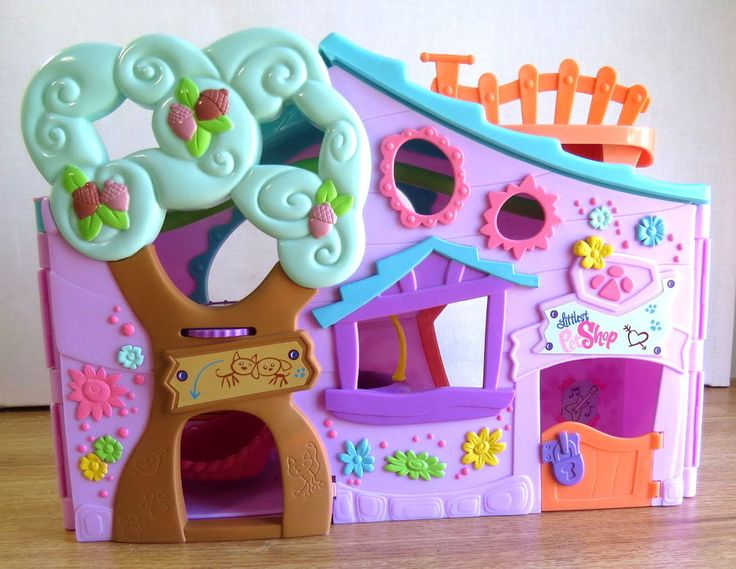 Littlest Pet Shop RARE Pink Purple Playset Clubhouse Tree