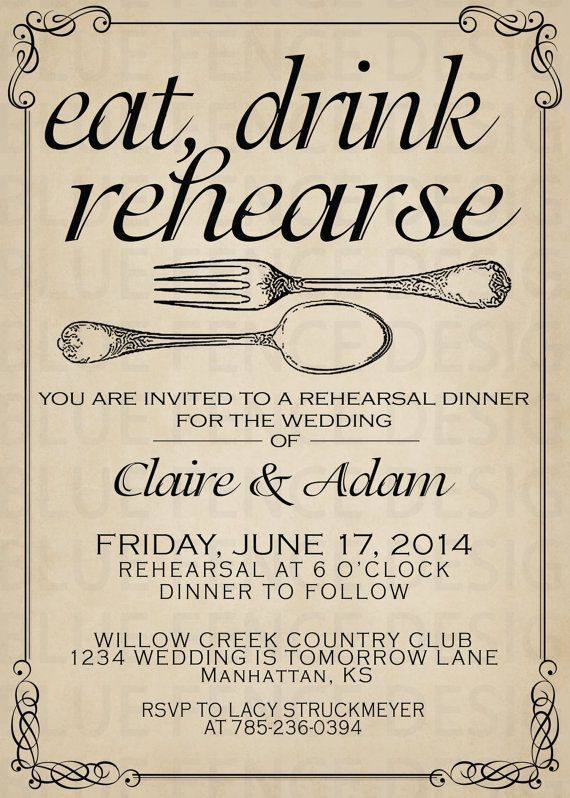 Printable Rehearsal dinner invitation template by BlueFenceDesigns