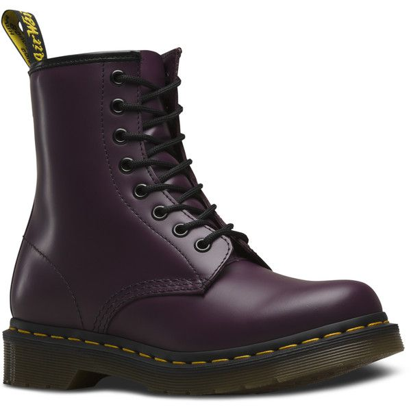 Dr. Martens Leather 1460 Boots (430 BRL) ❤ liked on Polyvore featuring shoes, boots, purple, slip resistant boots, dr martens shoes, dr martens boots, narrow boots and genuine leather boots