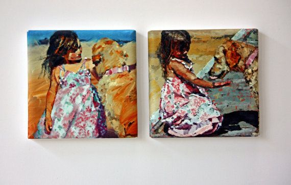 Tiny Canvas  Duo  Puppy Love  Print Set  Canvas by ClaireMcCallArt