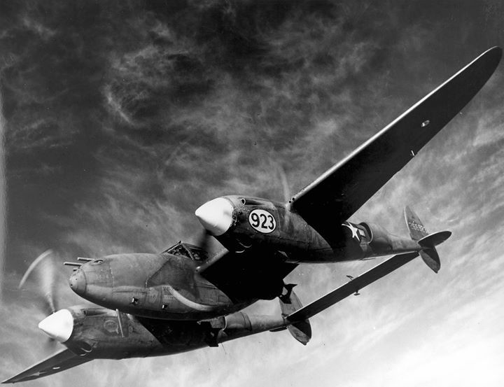 P-38 Lightning aircraft in flight during a demonstration AAF Tactical Center Orlando Florida United States 1944-1945.