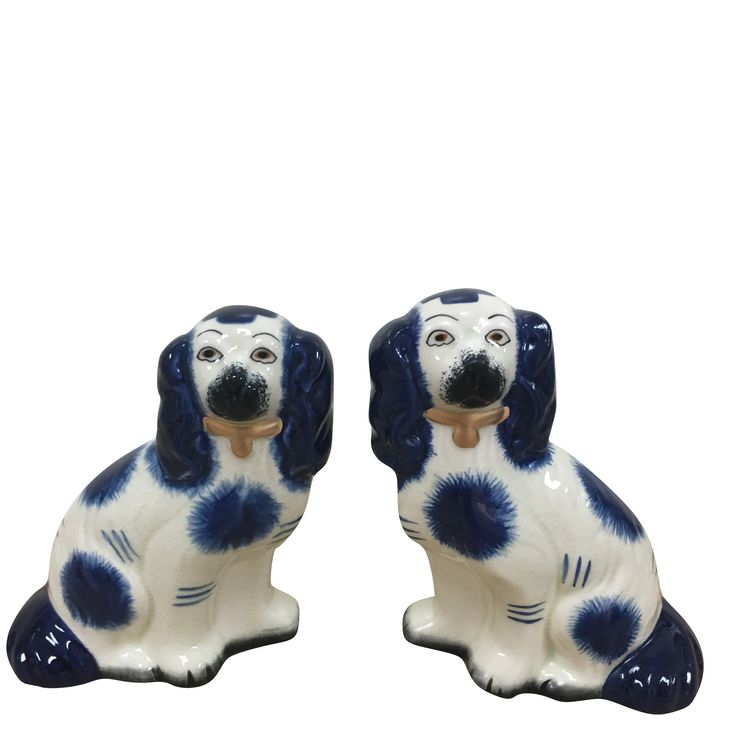 New! Fabulous pair of blue/ivory Staffordshire dogs