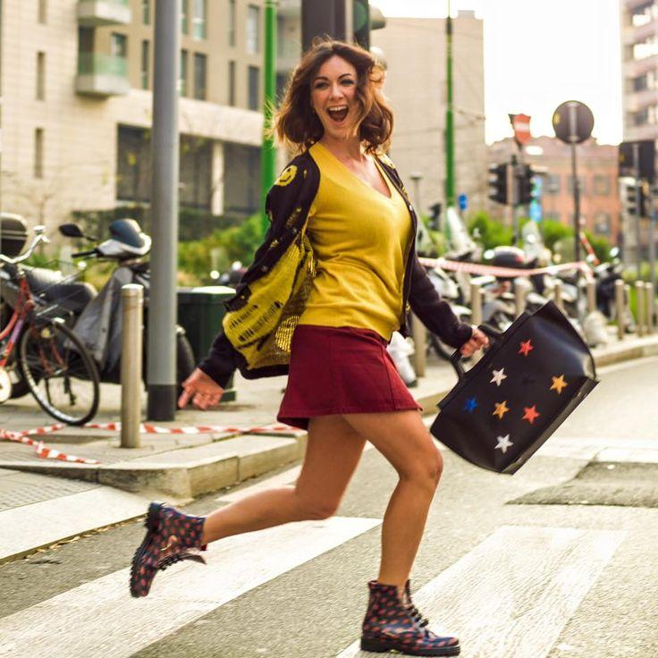 Melita Toniolo wears boot with polka dot fantasy by Chiara Bellini