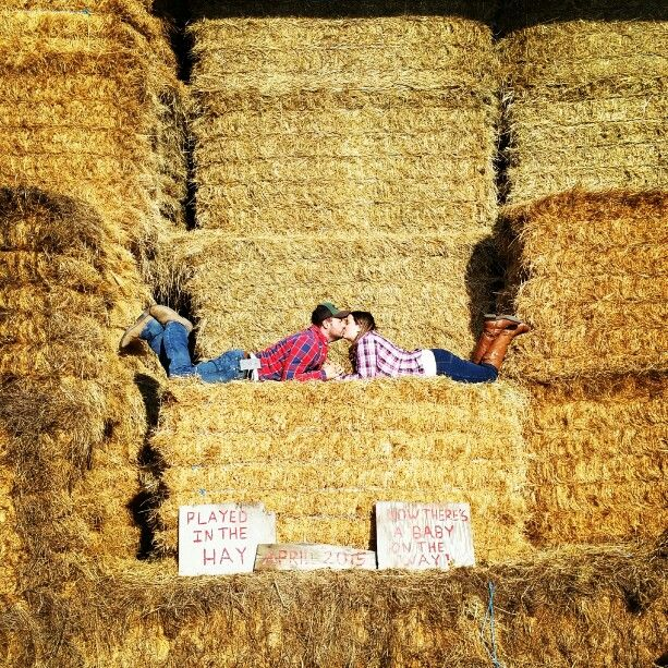 "Country style maternity photos "" played in the hay, now there's a baby on the way "" April 2015"