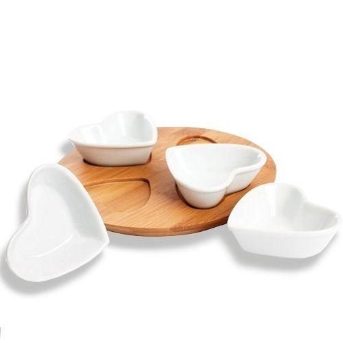 Petisqueira De Porcelana 4 Peças Em Coração Hercules Ump81 - R$ 21,90