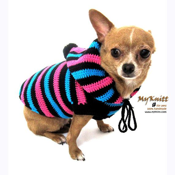 funny cute dog hoodie sweater crochet knit black blue pink striped chihuahua clothes pet. Black Bedroom Furniture Sets. Home Design Ideas