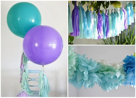 Under the sea mermaid theme birthday kit 2 giant 36 for Balloon decoration color combinations