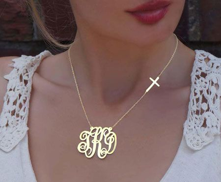 Gold Plated Monogram with Side Cross Necklace~beautiful