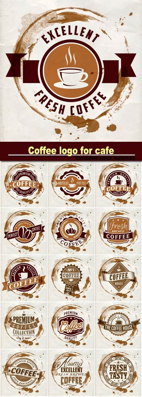 Coffee logo for cafe in blotch on paper texture
