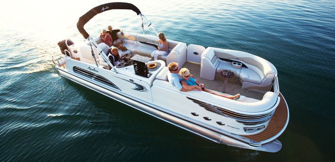 Ambassador Rear J Lounge Pontoon Boat - Bring all your friends and family out on the lake for a luxurious pontoon boat ride to remember. #avalonpontoons #pontoonboats #boating