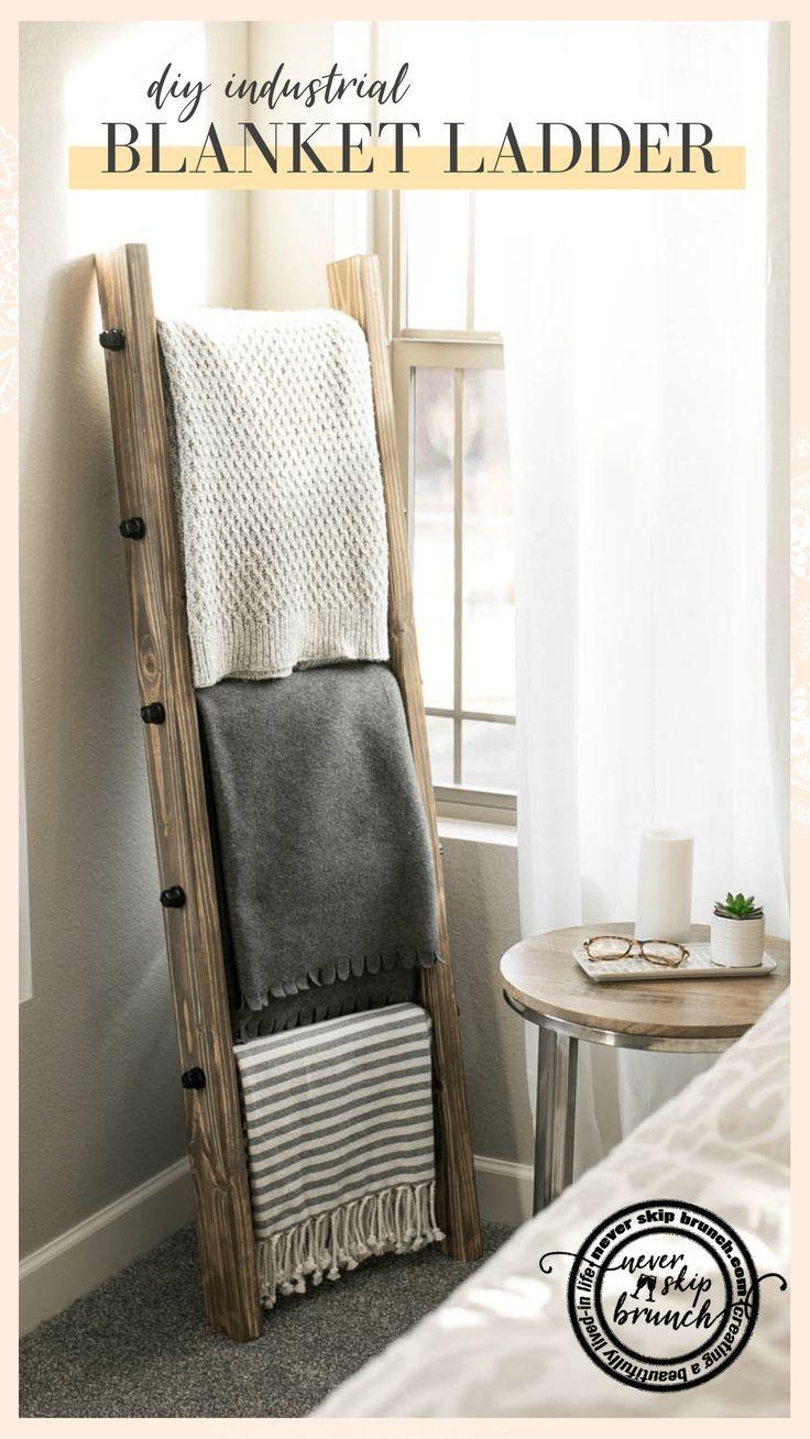 Wie erstelle ich eine DIY Industrial Style Blanket Ladder unter $ 60