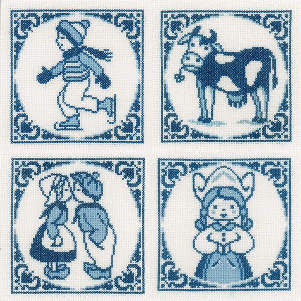 Borduurpakket Klassieke Delfts blauwe tegeltjes - Lanarte | Borduurpakkettenwinkel