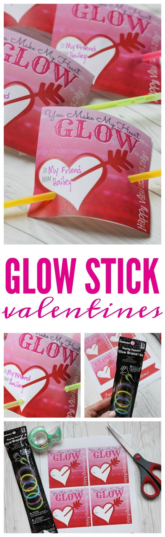 Valentine party ideas for church - Adorable Glow Stick Printables You Can Use To Make This Non Candy Valentines Day Idea For