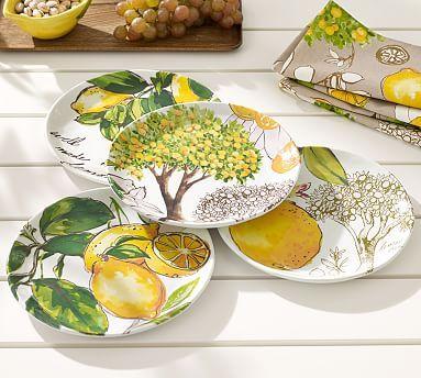 "Love the plate that says, ""well made lemonade"". Lemon Melamine Salad Plate, Mixed set of 4 #potterybarn"
