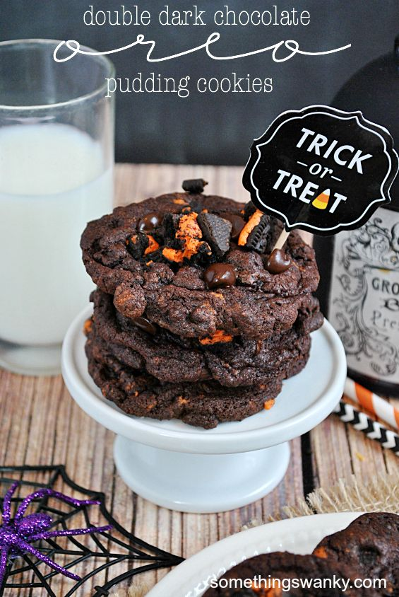 Double Dark Chocolate Oreo Pudding Cookies | www.somethingswanky.com