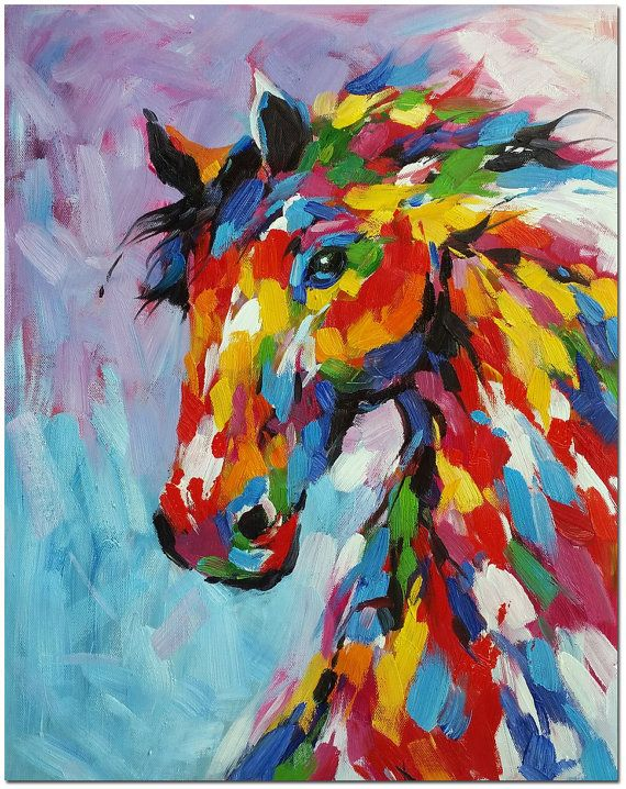 Original Colorful Horse Oil Painting Hand Painted Multi-Colored Horse Painting On Canvas in Impressionist Style